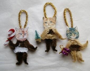 Chenille Ornaments, Cat Ornaments, Primitive Style Chenille Victorian Ornaments, Cat Lover, (191)