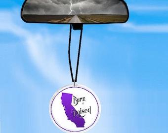 CALIFORNIA born and raised rearview mirror ornament - - car ornament -