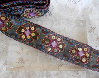 Multi Colored Stitched Lavender Stone Trim