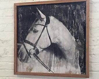 Framed Horse Art Equestrian Decor Horse Decor Handsome White Horse Framed Horse Wall Decor Modern Farmhouse Black and White Horse Art