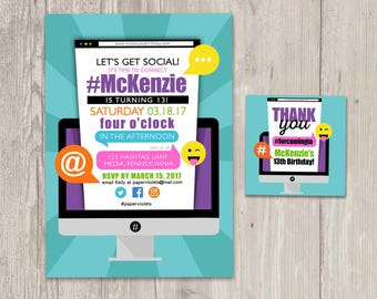 Social Media Birthday Invitations, Computer Invitation, Let's Get Social Birthday with FREE matching favor tags   Printable