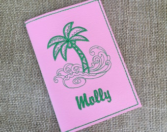 Personalized Passport Cover for Kids - Pink Faux Leather Passport Holder - Palm Tree Motif Passport Cover with Name - Travel Gift for Girls