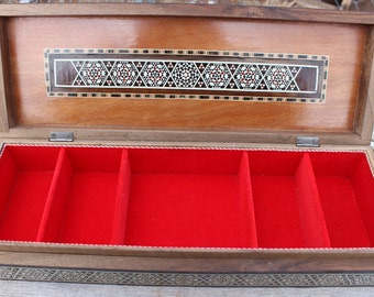 Inlaid Geometric Large Wooden Jewelry Box, Red Velvet Lined Interior, 5 Compartments, Tribal Boho Jewelry Storage, Ornate Vintage Box