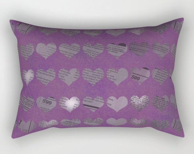 Purple Hearts - Pillow Cover Includes Insert - Purple with Newspaper Hearts - Rectangular Sofa Pillow - Bed Throw Pillow - Made to Order