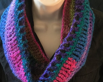 Beauitful Colors of Many Eyelet Crochet Cowl made of Noro Yarn