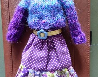 Blythe Purple Boho Outfit - Breathe - Skirt And Sweater