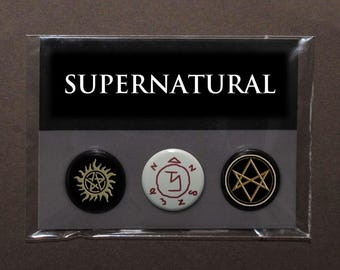Supernatural sigils button badge set – Sam and Dean – Castiel – Crowley – Men of Letters symbol – Winchester tattoo – anti demon possession