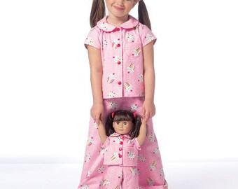 "Butterick Sewing Pattern B6123 Children's/Girls'/18"" Dolls' Robe, Belt, Top and Pants"