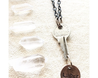Lucky Master / Repurposed Jewelry / Handmade / One Of A Kind / Key Jewelry / Coin Jewelry / Unique Recycled Art / Hand Stamped / Luck / Boho