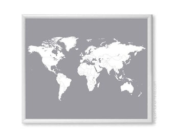 World Map, Modern Minimalist Poster, Minimal Home Decor, Grey Poster, Countries Map Print, Travel Map of the World, Places I've Been Map