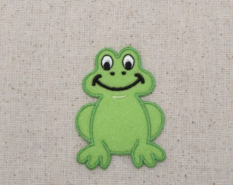 Frog - Childrens Green Smiling - Iron on Applique - Embroidered Patch -  696471A