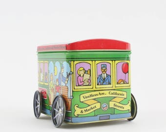Vintage Collectible Tin on Wheels - Trolley Car VanNess Ave San Francisco by JSNY Hong Kong