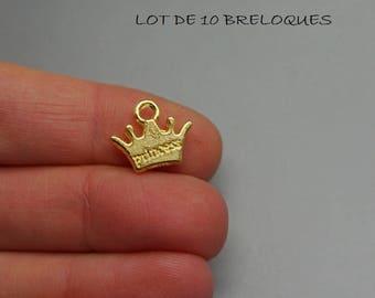 Set of 10 charms Golden Princess Crown (S14)