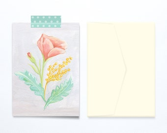 Mother's Day Greeting card delicate flower illustration vintage