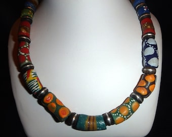 Colorful Sand Cast Glass Choker