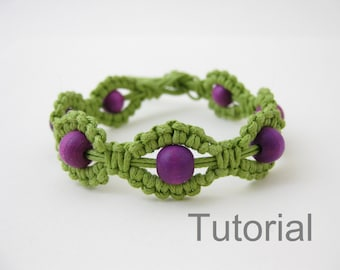 Macrame bracelet instructions pattern pdf tutorial jewelry green and purple diy how to beginners beads step by step jewellery