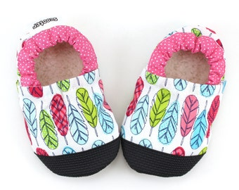 feather shoes baby feather booties girl shoes pink and blue and green  rubber sole shoes indian