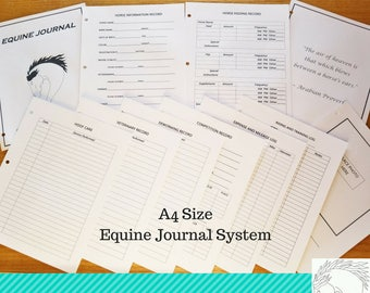 Equine Journal System, A4 size, horse record keeping, planner, horse health and expense tracker