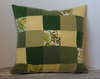 """Recycled wool sweater slipcover for 18"""" cushion -- green, yellow & vintage print"""