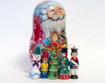 Christmas Ornaments Set Matryoshka Doll Russian Santa Father Frost