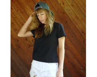 EXTRA 20% OFF SALE.... Black Sheer Mesh Striped s/s Top - Vintage 90s - S/M