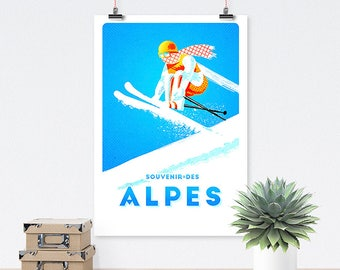 Alps - Vintage poster, poster vintage, retro, traveling, skiing, sports, travel, wall art