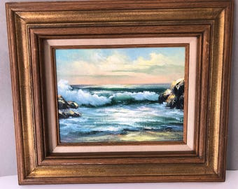 Vintage seascape | beach oil painting | vintage surf art | beach painting | seascape | coastal decor | nautical decor California West coast