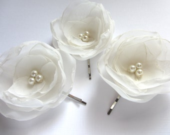 Ivory Hair Flowers Wedding Hair Accessories Ivory Bridal Hair Pins Ivory Flower Weddings