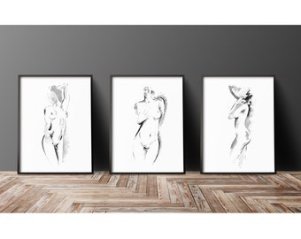 Abstract Nude Girl Set of 3 Painting, Beauty Woman Naked Poster, Erotic Art Print, Surreal Style Drawing, Sumi-e Room Decor