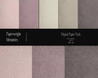 Dusty Rose - Instant download - Digital Papers - digital scrapbooking - rose, pink and grey patterned & textured paper - Commercial use