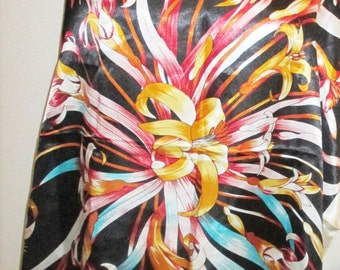Vintage Polyester Scarf 34 x 34 Floral Navy Blue Pink Gold Cream Vivid Colors Estate Wrap
