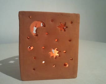 "Red terracotta tealight ""starry night"""