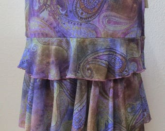 Paisley print pattern long skirt or tube dress with 3 layers design plus made in USA (V153)