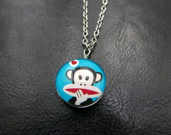 Big mouth monkey Necklace jewelry Double sided cabochon