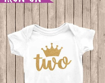 Gold Two Birthday Outfit, Iron On Decal, 2nd Birthday Iron On, Second Birthday Outfit, DIY Iron on