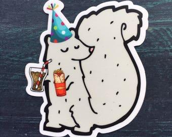 Party Squirrel Sticker: laptop sticker, phone sticker, water bottle sticker or bumper sticker