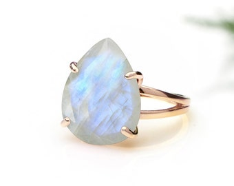 MOTHER'S DAY SALE - Rainbow moonstone ring,cocktail ring,rose gold ring,teardrop ring,gemstone ring,October birthstone ring,statement ring