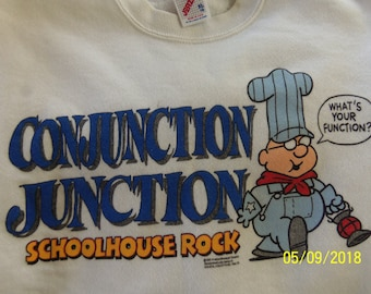 """Conjunction Junction """"What's Your Function?"""" Schoolhouse Rock sweatshirt (size XL 18)"""