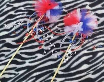 Set of 8 Pom pom wands, Party Wands, Customized, Tulle Wands, Princess Wands, Party Favor