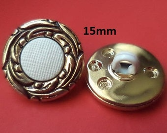 12 buttons White Golden 15 mm (1026) Blouse buttons