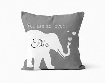 Nursery Pillow Cover, Nursery Decor, Baby Shower Gift, Elephant Nursery, Grey Elephant Pillow Cover, Blush Crimson Light Blue Grey