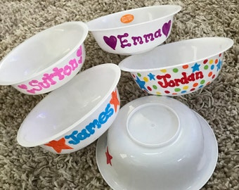 Personalized kids bowls personalized bowls for toddlers personalized party favors personalized bowl & Kids bowl   Etsy