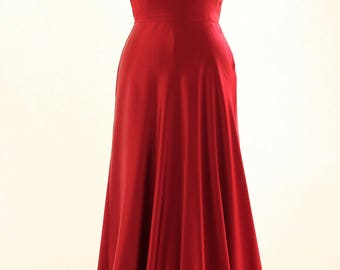 Red prom dress, ball gown, evening gown, long dress, silk dress, evening dress, backless dress, available made-to-measure only