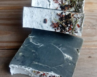 Winter Solstice Soap | Black Clay Soap | Artisan Botanical Soap | Hand Poured Essential Oil Soap | Ethically Sourced Ingredients | Man Soap