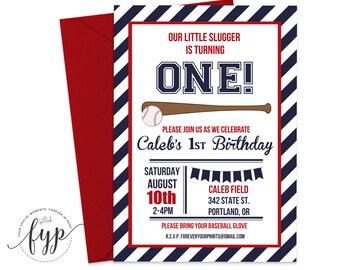 Baseball Party Invitation, Baseball Birthday Invitation, Boys Birthday Invitation, Baseball Invite, Little Slugger, Sports Invitation