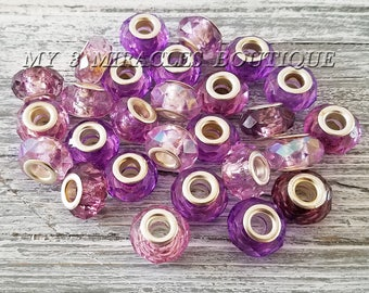 Purple Faceted Acrylic Charms | European Style Rondelle Beads | Bulk Lot Wholesale | Large Hole fits DIY Bracelets | DIY Jewelry Gifts