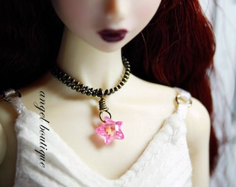 Cute Light Pink Star-shaped Crystal Necklace
