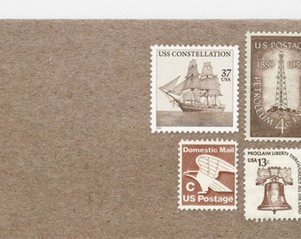 Posts (5) 2 oz wedding invitations - Sepia brown unused vintage postage stamp sets: (2 ounce 71 cent rate)