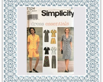 Simplicity 7524 (1997) Misses' dress or top, skirt, pants, and shorts (with petite option) - Vintage Uncut Sewing Pattern