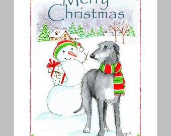 Scottish Deerhound Christmas Card